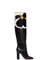 schwarze kniehohe Stiefel aus Leder von Valentino