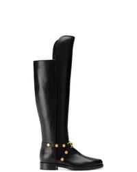 schwarze kniehohe Stiefel aus Leder von Versace