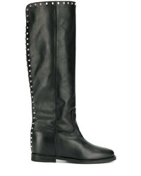 schwarze kniehohe Stiefel aus Leder von Via Roma 15