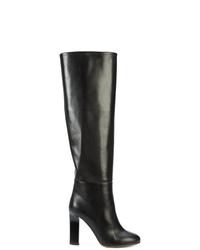 schwarze kniehohe Stiefel aus Leder von Victoria Beckham