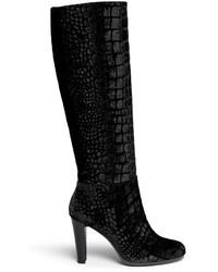 schwarze kniehohe Stiefel aus Samt