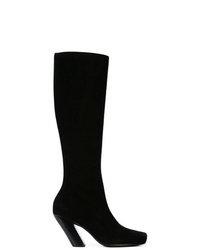 schwarze kniehohe Stiefel aus Wildleder von Ann Demeulemeester