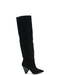 schwarze kniehohe Stiefel aus Wildleder von Ash
