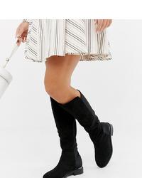 schwarze kniehohe Stiefel aus Wildleder von ASOS DESIGN