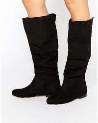 Schwarze Kniehohe Stiefel aus Wildleder von Asos