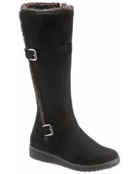 schwarze kniehohe Stiefel aus Wildleder von City Walk