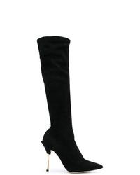 schwarze kniehohe Stiefel aus Wildleder von Dolce & Gabbana