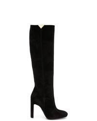 schwarze kniehohe Stiefel aus Wildleder von Emporio Armani