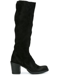 schwarze kniehohe Stiefel aus Wildleder von Fiorentini+Baker