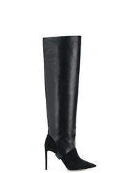 schwarze kniehohe Stiefel aus Wildleder von Jimmy Choo