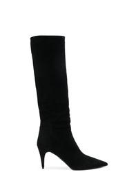 schwarze kniehohe Stiefel aus Wildleder von Prada