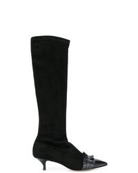 schwarze kniehohe Stiefel aus Wildleder von RED Valentino