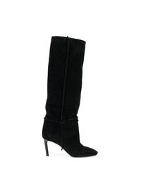 schwarze kniehohe Stiefel aus Wildleder von Saint Laurent