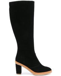 schwarze kniehohe Stiefel aus Wildleder von See by Chloe