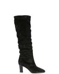 schwarze kniehohe Stiefel aus Wildleder von Vince