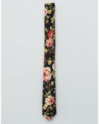 schwarze Krawatte mit Blumenmuster von Asos