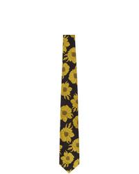 schwarze Krawatte mit Blumenmuster von Dries Van Noten