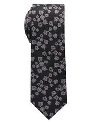 schwarze Krawatte mit Blumenmuster von Eterna