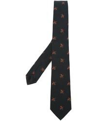 schwarze Krawatte mit Blumenmuster von Givenchy