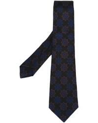 schwarze Krawatte mit Blumenmuster von Kiton