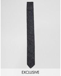 schwarze Krawatte mit Blumenmuster von Reclaimed Vintage