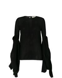 schwarze Langarmbluse von Saint Laurent