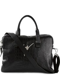 schwarze Leder Aktentasche mit Schlangenmuster von Giuseppe Zanotti