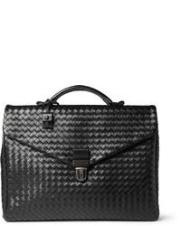 schwarze Leder Aktentasche von Bottega Veneta