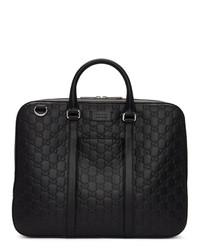 schwarze Leder Aktentasche von Gucci
