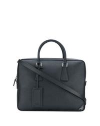 schwarze Leder Aktentasche von Prada