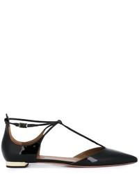 Schwarze Leder Ballerinas von Aquazzura