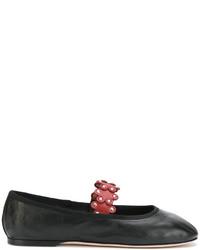schwarze Leder Ballerinas von RED Valentino