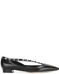 schwarze Leder Ballerinas von Valentino