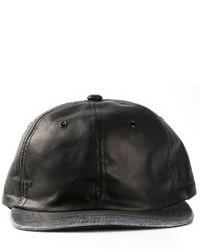 schwarze Leder Baseballkappe