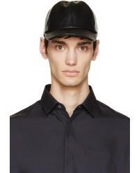 schwarze Leder Baseballkappe von A.P.C.