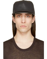 schwarze Leder Baseballkappe von Rick Owens