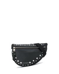 schwarze Leder Bauchtasche von Alexander McQueen