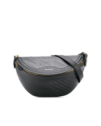 schwarze Leder Bauchtasche von Balenciaga