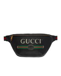 schwarze Leder Bauchtasche von Gucci