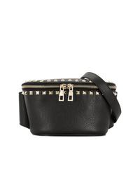 schwarze Leder Bauchtasche von Valentino