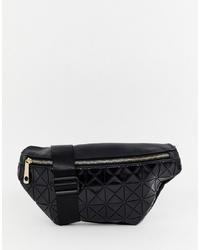schwarze Leder Bauchtasche von Yoki Fashion