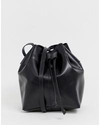schwarze Leder Beuteltasche von ASOS DESIGN