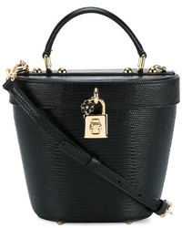 schwarze Leder Beuteltasche von Dolce & Gabbana