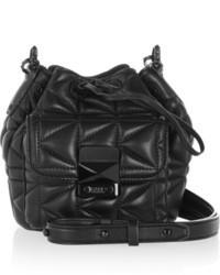 schwarze Leder Beuteltasche von Karl Lagerfeld