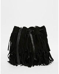 schwarze Leder Beuteltasche von Mango