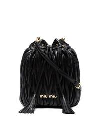 schwarze Leder Beuteltasche von Miu Miu
