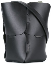 schwarze Leder Beuteltasche von Paco Rabanne