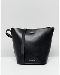 schwarze Leder Beuteltasche von Paul Costelloe