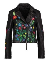schwarze Leder Bikerjacke mit Blumenmuster von Be Edgy