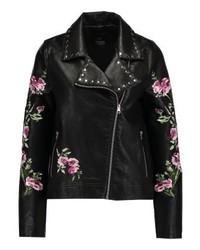 schwarze Leder Bikerjacke mit Blumenmuster von Even&Odd